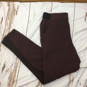 Free People maroon & black textured knit joggers
